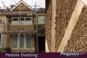 Pebble dash walls