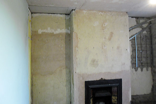Fireplace ready to plaster